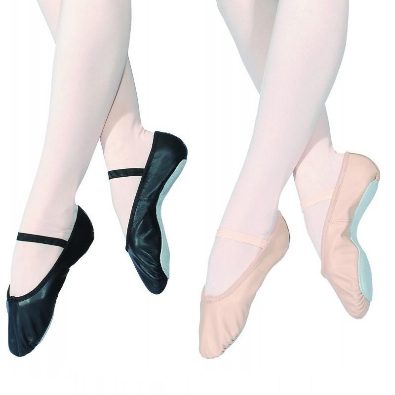 balletschoen leder volle zool rose zwart