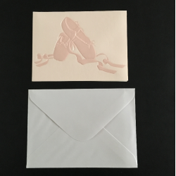 postkaart met enveloppe balletschoen